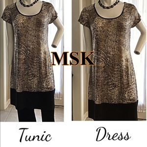 MSK Stretch Tunic Top Dress Stretch & Bling Size L